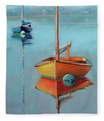 Yellow Hull On Menemsha Pond Fleece Blanket