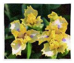 Yellow Irises - Joyful Reunion - By Omaste Witkowski Fleece Blanket