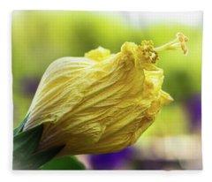 Yellow Mature Hibiscus  Fleece Blanket