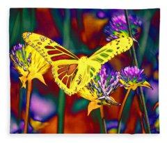 Yellow Monarch Butterfly Fleece Blanket