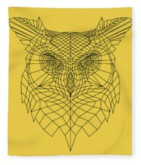 Yellow Owl Fleece Blanket