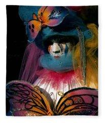 Yellow Pink Blue Butterfly Fleece Blanket
