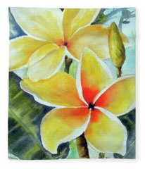 Yellow Plumeria Fleece Blanket
