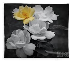 Yellow Rose Cluster Partial Color Fleece Blanket