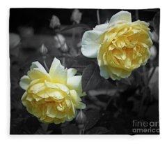 Yellow Roses Partial Color Fleece Blanket