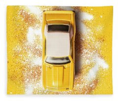 Yellow Street Machine Fleece Blanket
