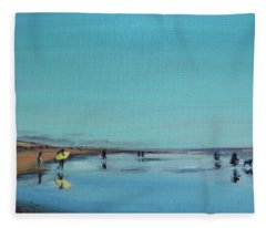 Yellow Surfboard Fleece Blanket