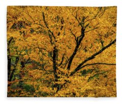 Yellow Tree Leaf Brilliance  Fleece Blanket