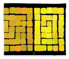 Yellow Triptych Fleece Blanket