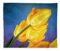 Yellow Tulips On Blue Fleece Blanket