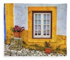 Yellow Window Of Obidos Fleece Blanket