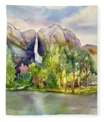 Yosemite Waterfalls Fleece Blanket