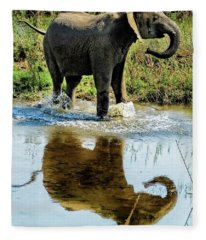 Young Elephant Playing In A Puddle Fleece Blanket