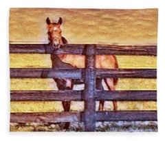 Young Kentucky Thoroughbred Fleece Blanket
