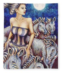 Zebra Moon Fleece Blanket