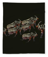Zebra Pattern Rhinoceros Beetle 3 Fleece Blanket