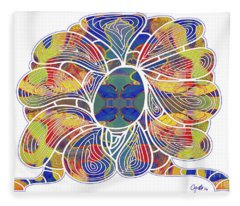 Zen Flower Abstract Meditation Digital Mixed Media Art By Omaste Witkowski Fleece Blanket