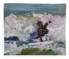 Zen Surfing, One With The Wave Fleece Blanket