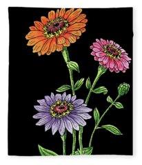 Zinnia Flowers Botanical Watercolour  Fleece Blanket