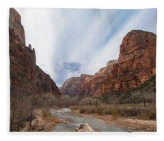 Zion National Park And Virgin River Fleece Blanket