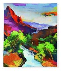 Zion - The Watchman And The Virgin River Fleece Blanket