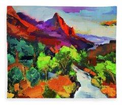 Zion - The Watchman And The Virgin River Vista Fleece Blanket