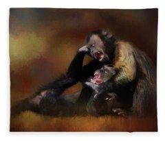 Zoo Monkey's Playing Fleece Blanket