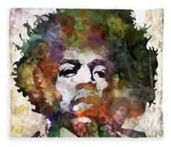 Rock And Roll Jimi Hendrix Music Fleece Blankets