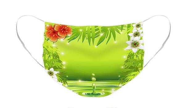 Face Mask featuring the digital art Fresh Green Water Bamboo and Tropical Flowers by BluedarkArt Lem