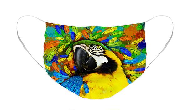 Face Mask featuring the mixed media Gold and Blue Macaw Fantasy by BluedarkArt Lem