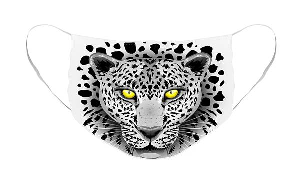 Face Mask featuring the digital art Leopard Portrait with Yellow Eyes by BluedarkArt Lem