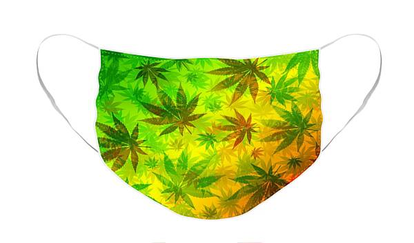 Face Mask featuring the digital art Marijuana Leaves Rasta Pattern by BluedarkArt Lem