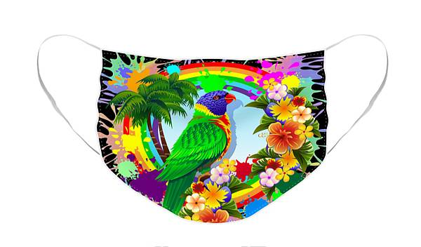 Face Mask featuring the digital art Rainbow Lorikeet Tropical Colors Explosion by BluedarkArt Lem