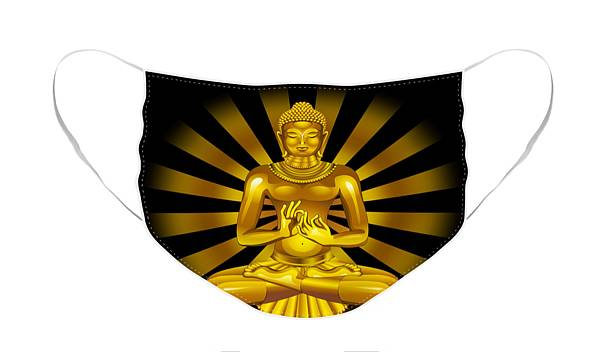 Face Mask featuring the digital art The Golden Buddha by BluedarkArt Lem