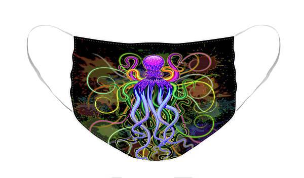 Face Mask featuring the digital art Octopus Psychedelic Luminescence by BluedarkArt Lem