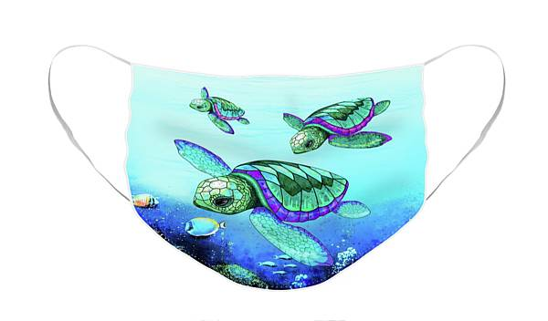 Face Mask featuring the digital art Sea Turtles Dance  by BluedarkArt Lem