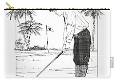 Carry-all Pouch featuring the drawing  1920's Vintage Golfer by Ira Shander