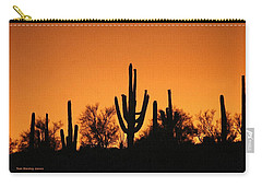 Carry-all Pouch featuring the photograph  Arizona Sagurao Sunset by Tom Janca