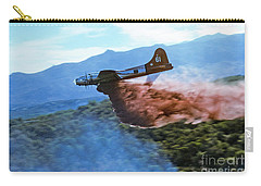 Carry-all Pouch featuring the photograph  B-17 Air Tanker Dropping Fire Retardant by Bill Gabbert