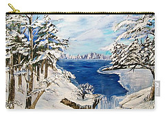 Carry-all Pouch featuring the painting  Blanket Of Ice by Sharon Duguay
