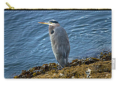 Carry-all Pouch featuring the photograph  Blue Heron On A Rock by Eti Reid
