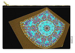 Carry-all Pouch featuring the digital art  Magnitude. Black Blue And Gold Design by Oksana Semenchenko