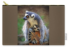 Carry-all Pouch featuring the photograph    Mother And Baby Monkey by Savannah Gibbs