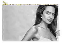 Movie Star Angelina Jolie Black And White Carry-all Pouch