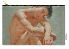 Original Classic  Oil Painting Gay Man Body Art Male Nude #16-2-5-44 Carry-all Pouch by Hongtao     Huang