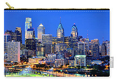Philadelphia Skyline At Night Evening Panorama Carry-all Pouch