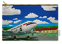 Portsmouth Ohio Airport And Lake Central Airlines Carry-all Pouch by Frank Hunter
