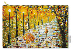 Rainy Autumn Beauty Original Palette Knife Painting Carry-all Pouch