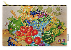 Carry-all Pouch featuring the painting  Red Apples And  Grapes Oil Painting by Johanna Bruwer