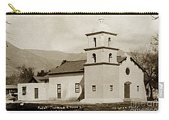 Carry-all Pouch featuring the photograph  St. Thomas Aquinas Catholic Church  Ojai Cal 1920 by California Views Mr Pat Hathaway Archives